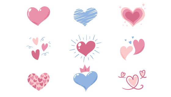 9个手绘风格可爱爱心矢量素材(AI/EPS/PNG)