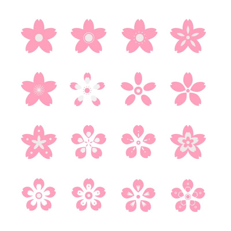 16种粉色樱花花瓣矢量素材(AI/EPS/免扣PNG)