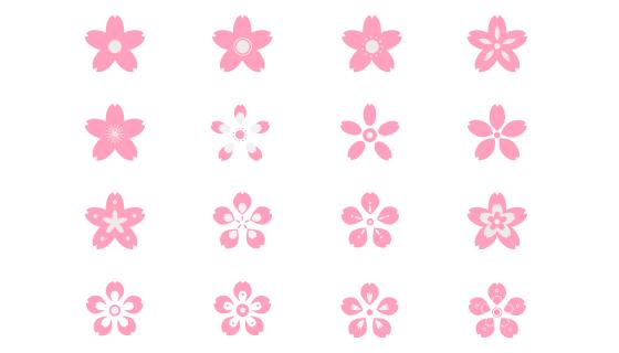16种粉色樱花花瓣矢量素材(AI/EPS/PNG)