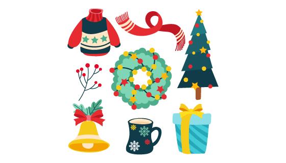 扁平风格可爱的圣诞节元素矢量素材(AI/EPS/PNG)