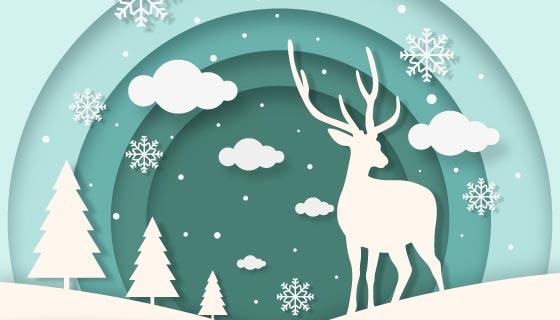 圣诞驯鹿圣诞节背景矢量素材(AI/EPS)