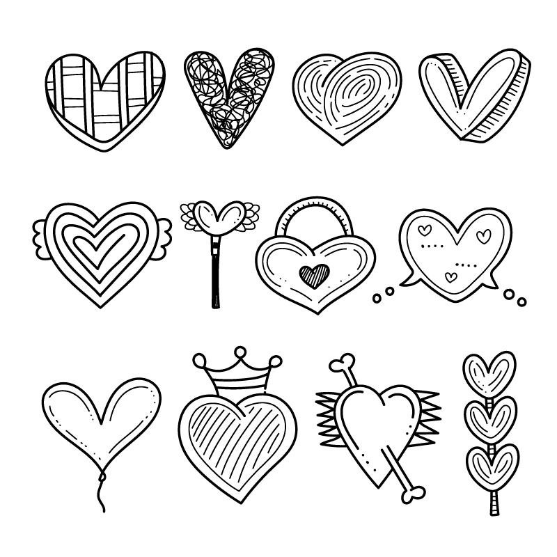 手绘风格黑白色爱心矢量素材(AI/EPS/免扣PNG)