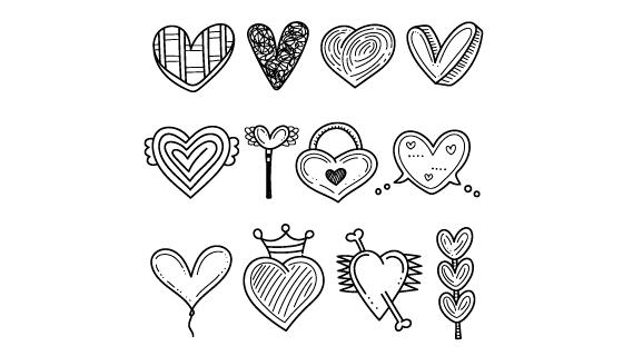 手绘风格黑白色爱心矢量素材(AI/EPS/PNG)