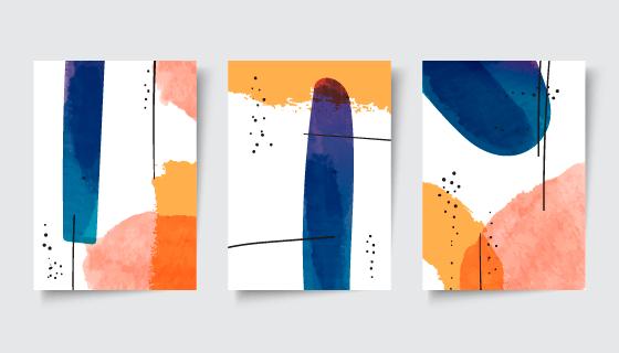 抽象水彩风格的封面矢量素材(AI/EPS)