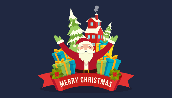 圣诞老人和圣诞礼物圣诞节矢量素材(AI/EPS/PNG)