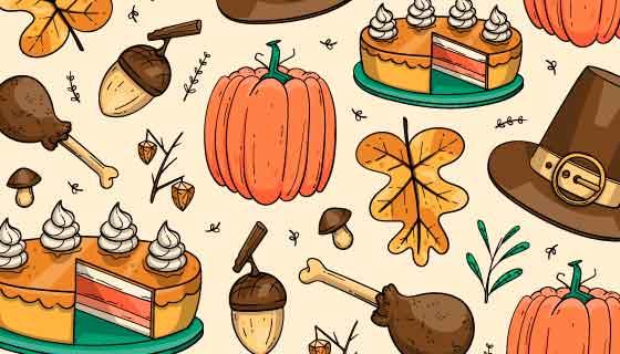 手绘风格食物感恩节背景矢量素材(AI/EPS)