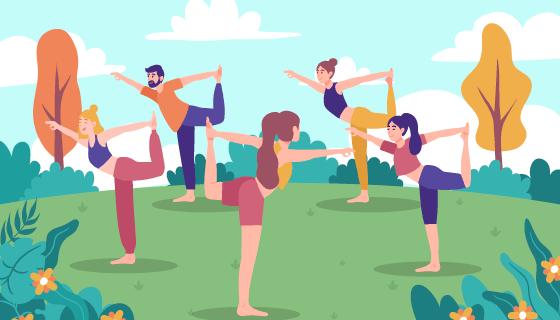 户外做瑜伽的女子矢量素材(AI/EPS)
