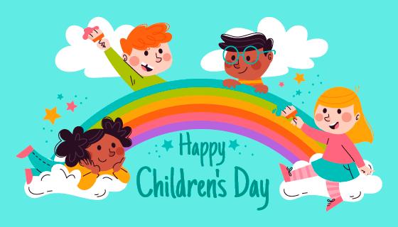 孩子们涂鸦彩虹儿童节矢量素材(AI/EPS)