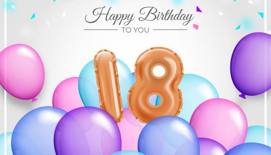 多彩气球设计18岁生日快乐矢量素材(AI/EPS)