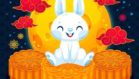 坐在月饼上的兔子中秋节矢量素材(AI/EPS)