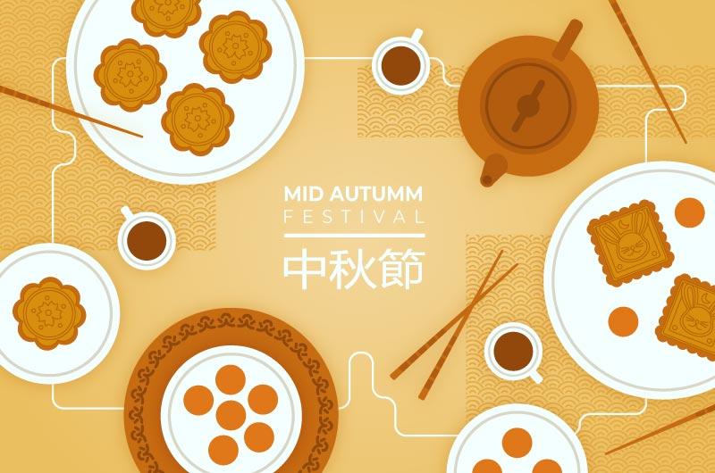 扁平风格月饼设计中秋节矢量素材(AI/EPS)