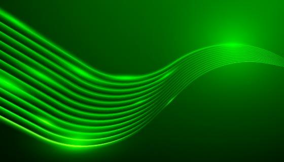 绿色霓虹灯波浪背景矢量素材(AI/EPS)