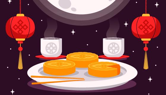 月亮灯笼月饼设计中秋节矢量素材(AI/EPS)