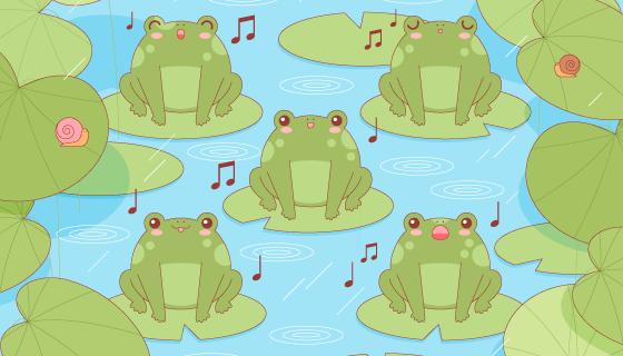站在荷叶上唱歌的青蛙矢量素材(AI/EPS)