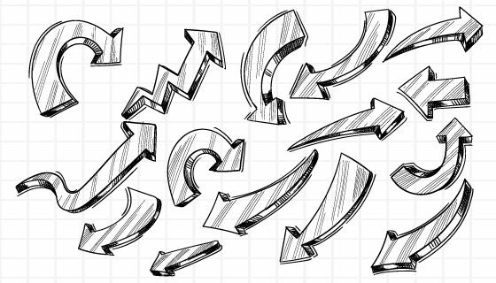 手绘素描箭头矢量素材(EPS)