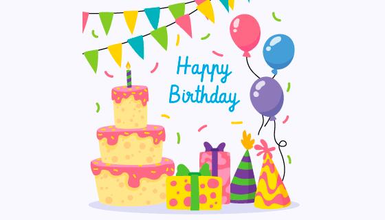 扁平风格蛋糕气球生日快乐矢量素材(AI/EPS)