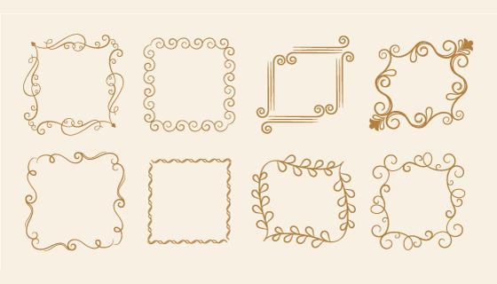 花卉设计复古边框矢量素材(EPS/PNG)