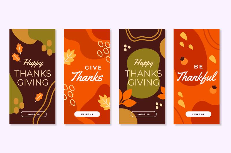 4张感恩节封面折页矢量素材(AI/EPS)