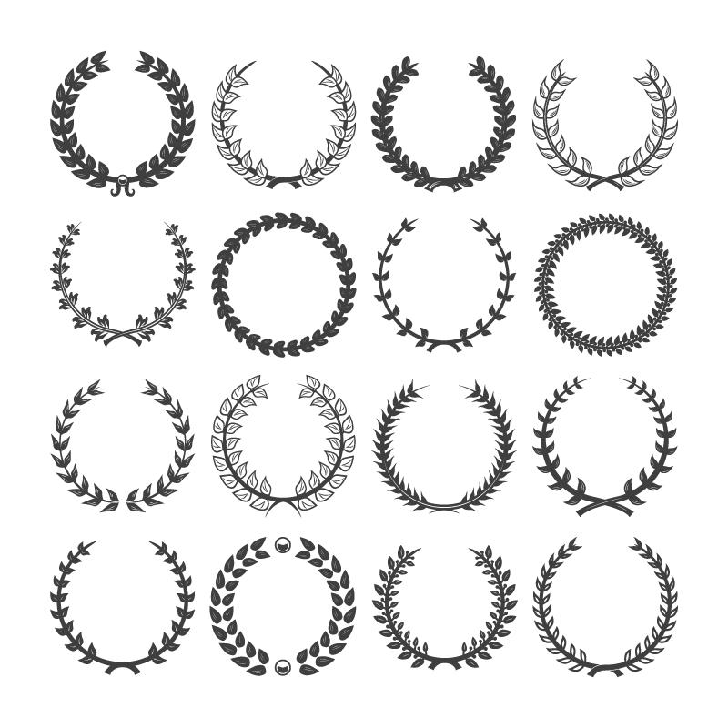 黑色复古装饰花环矢量素材(EPS/免扣PNG)