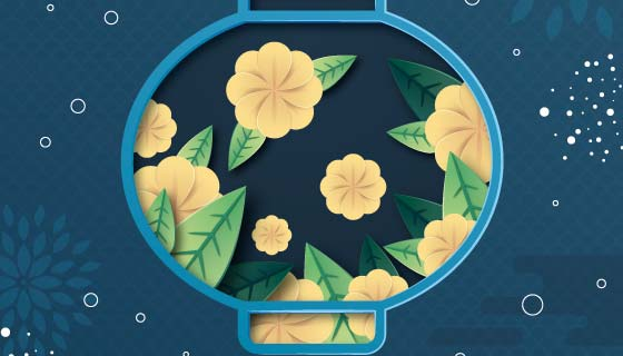 花卉灯笼概念设计中秋节矢量素材(AI/EPS)