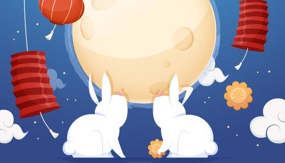 月亮兔子灯笼设计中秋节矢量素材(AI/EPS)