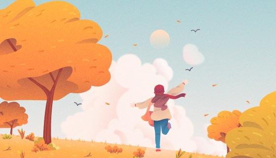 秋天里奔跑的孩子矢量素材(AI/EPS)