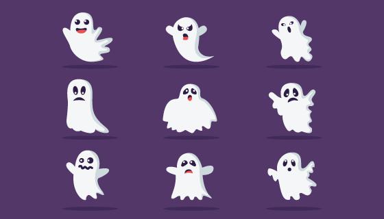 可爱的万圣节幽灵矢量素材(AI/EPS/PNG)
