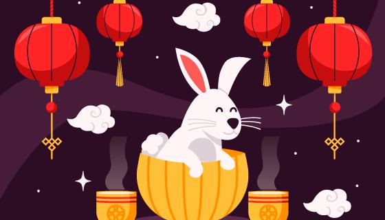 兔子灯笼设计中秋节矢量素材(AI/EPS)