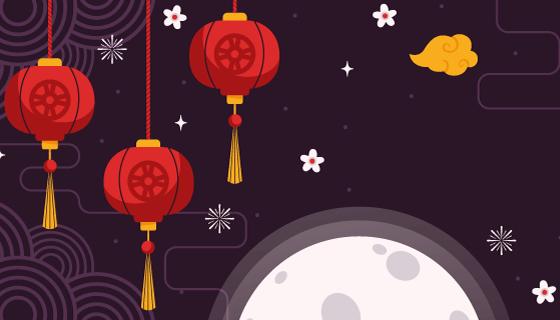 灯笼月亮设计中秋节banner矢量素材(AI/EPS)