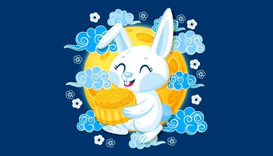 捧月饼的兔子中秋节矢量素材(AI/EPS)