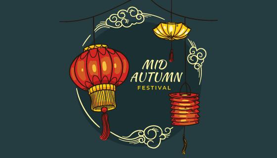 手绘风格的灯笼设计中秋节矢量素材(AI/EPS)