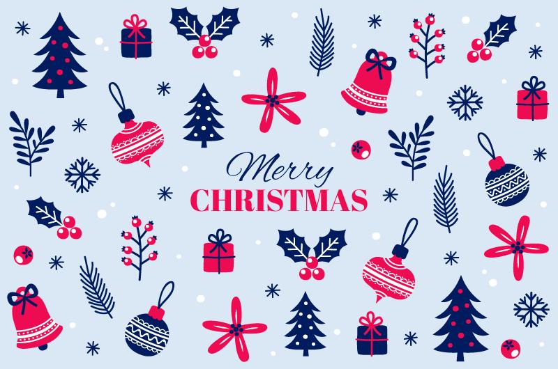 圣诞元素图案圣诞节背景矢量素材(AI/EPS/免扣PNG)