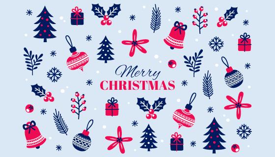 圣诞元素图案圣诞节背景矢量素材(AI/EPS/PNG)