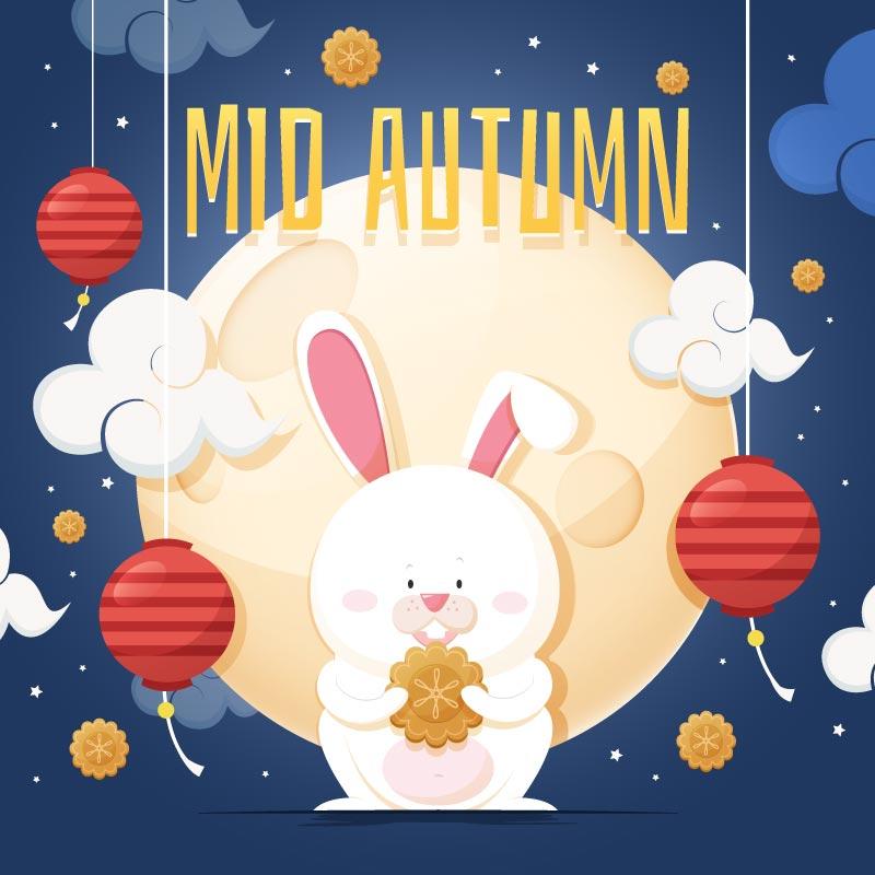 手捧月饼的兔子中秋节矢量素材(AI/EPS)