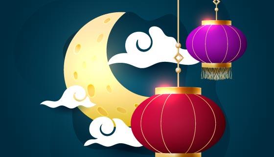 月亮灯笼设计中秋节矢量素材(EPS)
