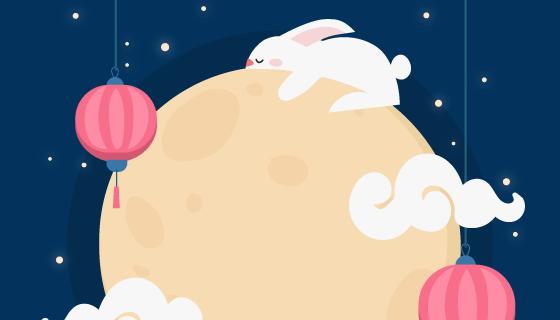 兔子月亮灯笼设计中秋节矢量素材(AI/EPS)