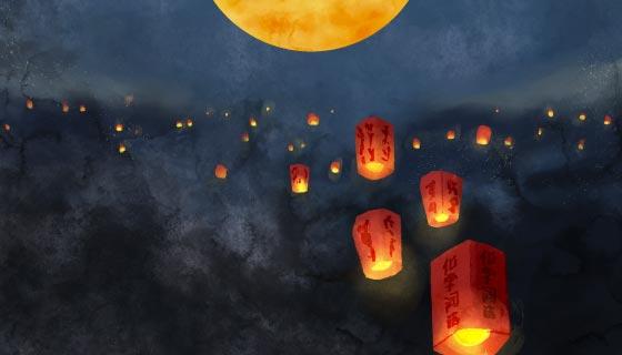 满天的孔明灯设计中秋节矢量素材(AI/EPS)