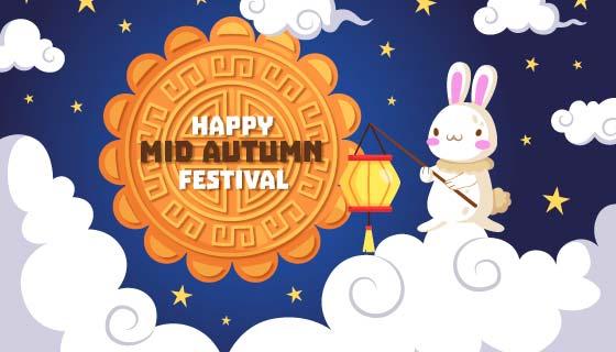 月饼和兔子设计中秋节矢量素材(AI/EPS)