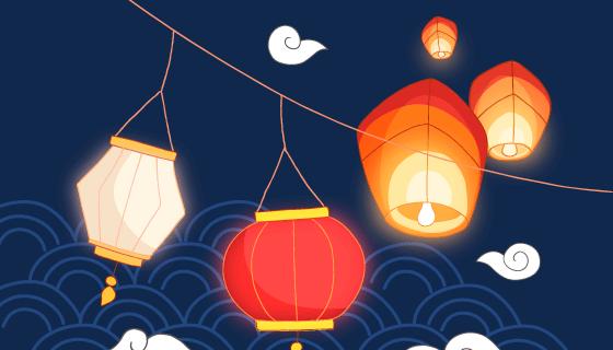 灯笼和孔明灯设计中秋节矢量素材(AI/EPS)