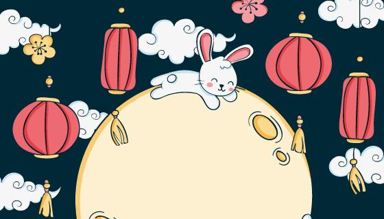 趴在月亮上的兔子设计中秋节矢量素材(AI/EPS)