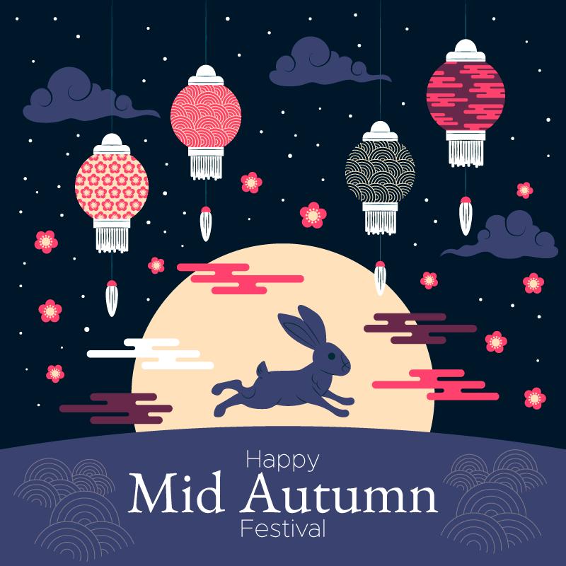 月下奔跑的兔子设计中秋节矢量素材(AI/EPS)