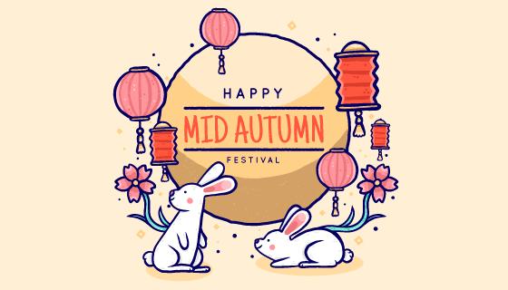手绘风格月亮兔子灯笼中秋节矢量素材(AI/EPS)