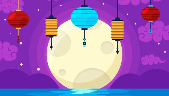 月亮灯笼设计中秋节矢量素材(AI/EPS)