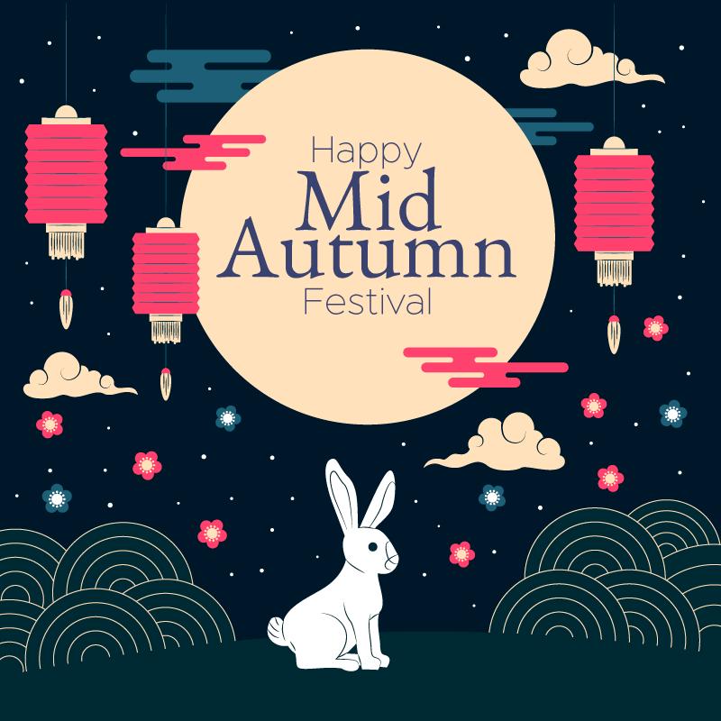 围绕月亮奔跑的兔子中秋节矢量素材(AI/EPS)