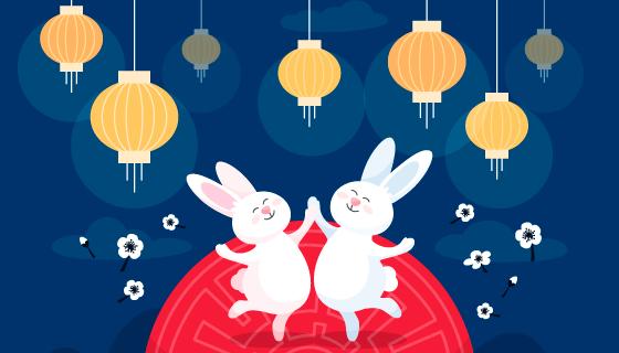 欢快跳舞的兔子设计中秋节矢量素材(AI/EPS)