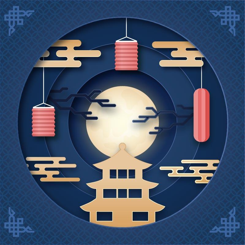 中国风设计中秋节矢量素材(AI/EPS)
