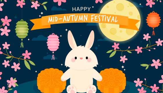 可爱的兔子月饼月亮设计中秋节矢量素材(AI/EPS)