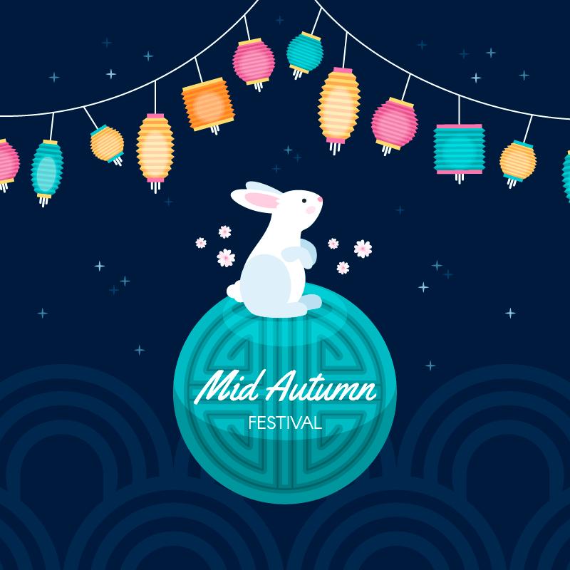 多彩的灯笼和兔子设计中秋节矢量素材(AI/EPS)