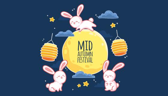 手绘风格可爱的兔子和月亮中秋节矢量素材(AI/EPS)