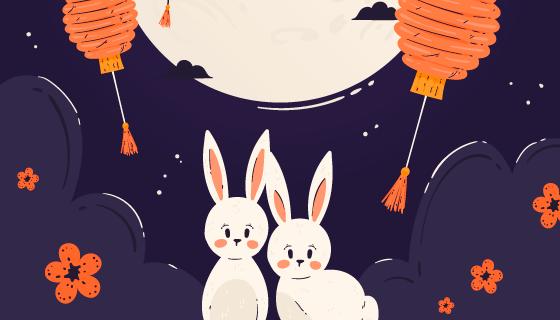 月亮灯笼兔子设计中秋节矢量素材(AI/EPS)